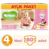 Huggies Kızım İçin Aylık Paket Bebek Bezi Maxi 4 No 80 li