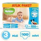 Huggies Erkek İçin Aylık Paket Bebek Bezi Midi 3 No 100 lü