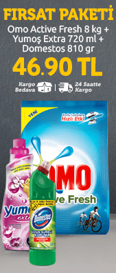 Omo Active Fresh 8 kg + Yumoş Extra 720 ml + Domestos 810 gr