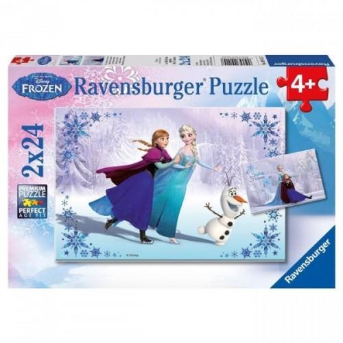 Ravensburger Çocuk WD Frozen 2X24 Puzzle 091157