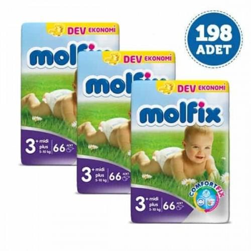 Molfix Bebek Bezi Dev Ekonomi Midi Plus 3+ No 66 lı x 3 Adet