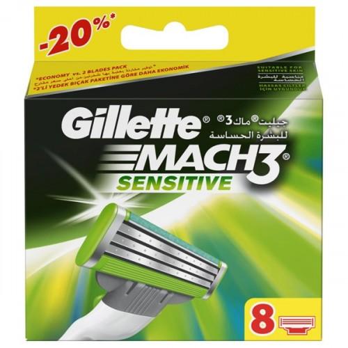 Gillette Mach3 Sensitive Yedek Başlık 8 li
