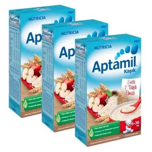 Aptamil Sütlü 7 Tahıllı Elmalı Kaşık Maması 250 gr x 3 Adet