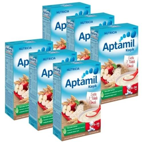 Aptamil Sütlü 7 Tahıllı Elmalı Kaşık Maması 250 gr x 6 Adet