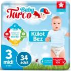 Baby Turco Külot Bebek Bezi Midi 3 Beden 34 lü