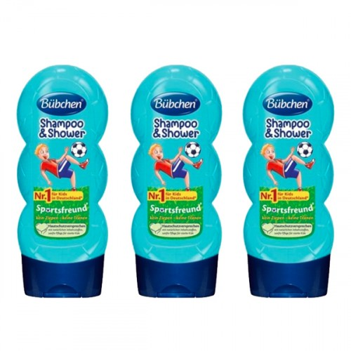 Bübchen Sport Çocuk Şampuanı ve Duş Jeli 230 ml x 3 Adet