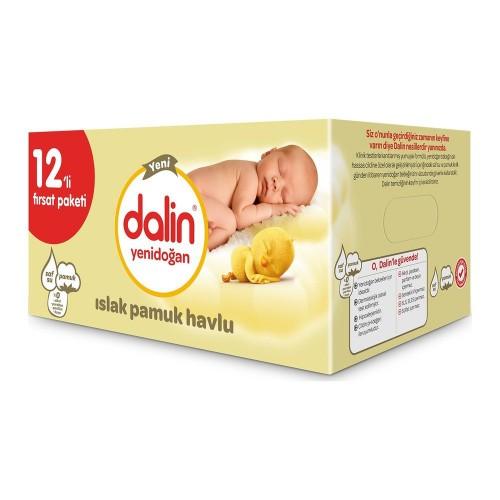 Dalin Yenidoğan Islak Pamuk Havlu 40 lı 12li Paket (480 Yaprak)