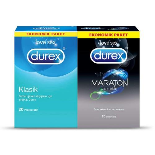 Durex Maraton Geciktiricili ve Klasik Prezervatif Kondom 40 lı