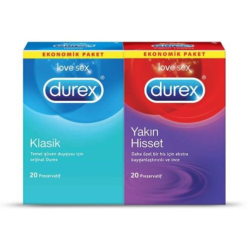 Durex Yakın Hisset ve Klasik Prezervatif Kondom 40 lı