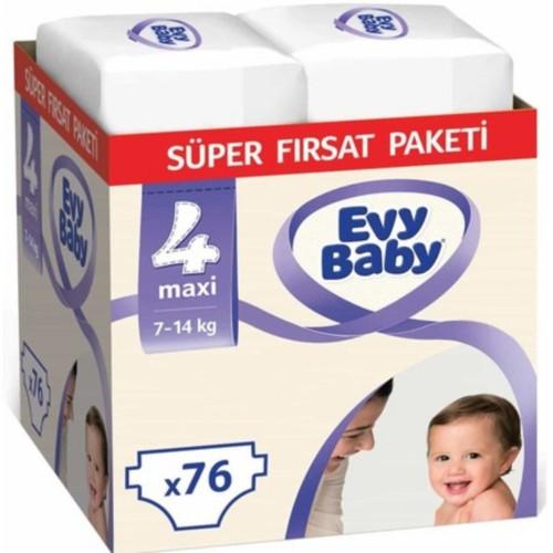 Evy Baby Bebek Bezi 4 Beden Maxi Süper Fırsat Paketi 76 Adet
