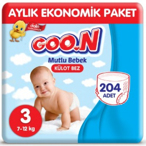 Goon Mutlu Bebek Külot Bez Ekonomik Paket 3 Beden 68 Adet x 3 Adet