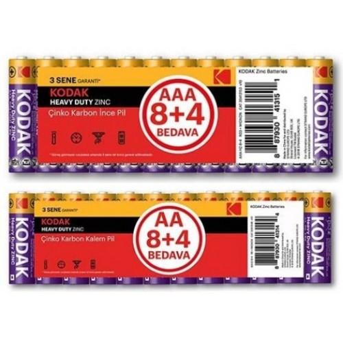 Kodak 12 Adet Çinko Karbon Blister Kalem Pil + İnce Pil