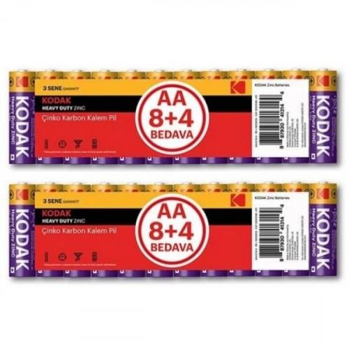 Kodak 12 Adet Çinko Karbon Blister Kalem Pil x 2 Adet
