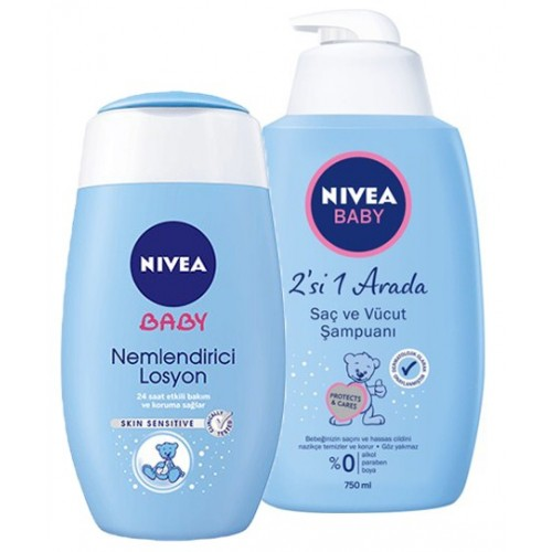 Nivea Baby Şampuan 750ml + Nivea Baby Losyon 200 ml