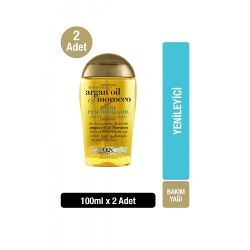 Ogx Kuru ve Sertleşmiş Saçlar İçin Yenileyici Argan Yağı 100 ml 2 li