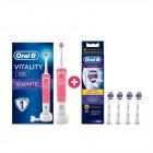 Oral-B Vitality D100 3D White Şarjlı Diş Fırçası Pembe + 4 Yedek