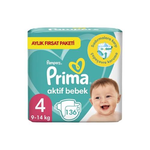Prima Pampers Bebek Bezi Aktif Bebek Aylık Paket 4 No 136 lı