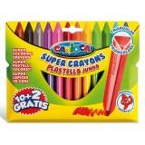 Carioca Plastello Jumbo Üçgen Yıkanabilir Pastel Boya Kalemi 12'li