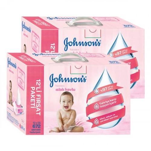 Johnsons Baby Islak Mendil Hassas 24 lü Paket (1.344 Yaprak)