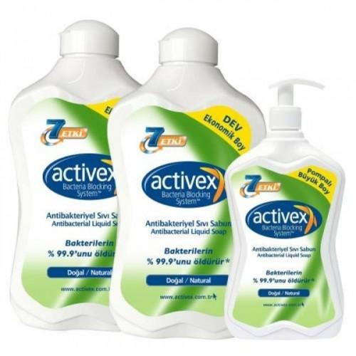 Activex Antibakteriyel Sıvı Sabun Doğal 1500 ml + 1500 ml + 700 ml