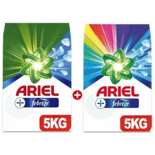 Ariel Plus Çamaşır Deterjanı Febreze Etkili 5 kg + Parlak Renkler 5 kg