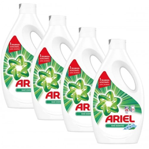 Ariel Sıvı Çamaşır Deterjanı Dağ Esintisi 26 Yıkama 1,69 lt x 4 Adet