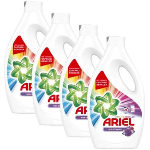 Ariel Sıvı Çamaşır Deterjanı Mor Çiçekler 26 Yıkama 1,69 lt x 4 Adet