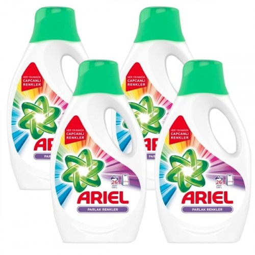 Ariel 26 Yıkama 4 lü Paket Sıvı Çamaşır Deterjanı Parlak Renkler