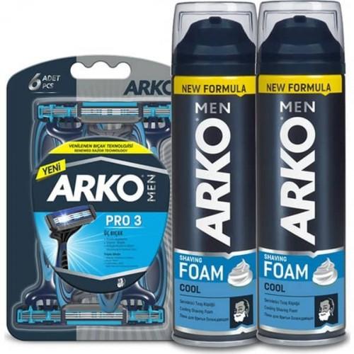 Arko Men T3 Pro Tıraş Bıçağı 6 lı & Tıraş Köpüğü Cool 2 li 200 ml