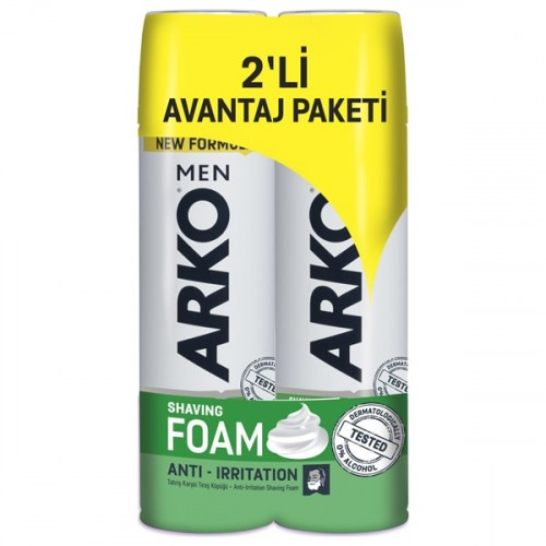 Arko Men Tıraş Köpüğü Anti Irritation 200 ml 2 li Avantaj Paketi