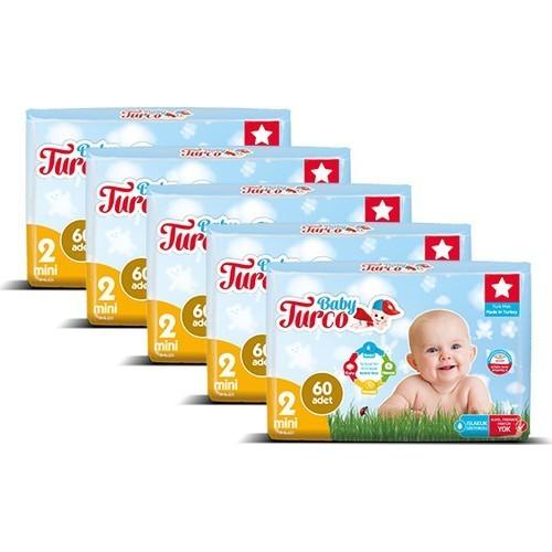 Baby Turco Bebek Bezi 2 Beden Mini 60 lı x 5 Adet