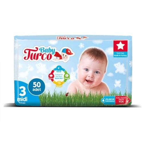 Baby Turco Bebek Bezi 3 Beden Midi  50 li