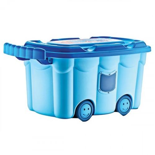 Babyjem Tekerlekli Oyuncak Kutusu Mavi