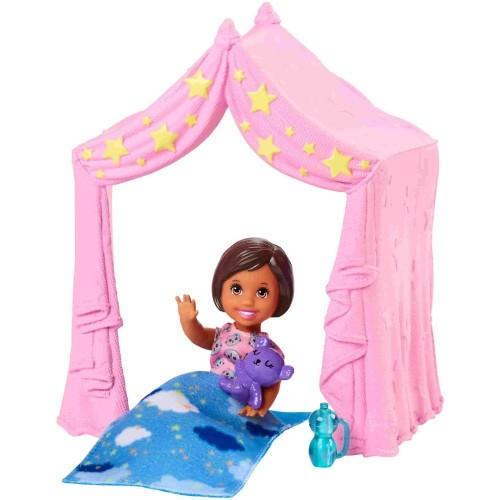 Barbie Bebek Bakıcısı Pembe Çadırlı Oyun Alanı Seti FXG97