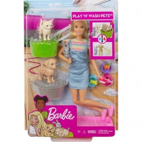 Barbie ve Hayvanları Banyo Eğlencesinde Oyun Seti FXH11