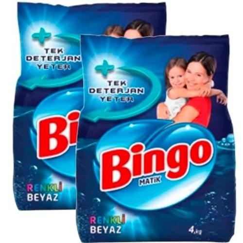 Bingo Matik Toz Çamaşır Deterjanı Renkli - Beyaz 4 kg x 2 Adet