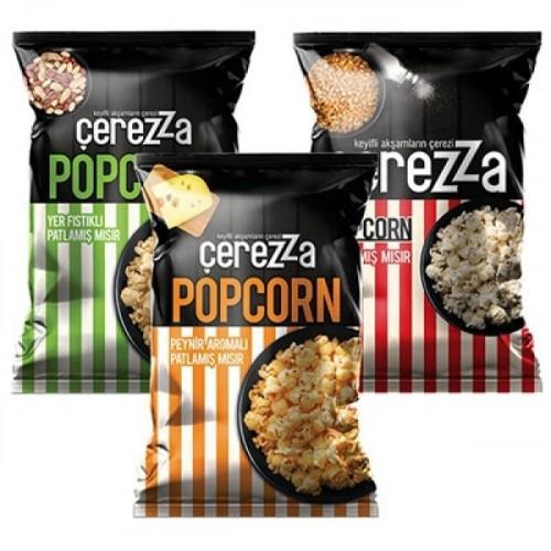 Çerezza Peynirli + Fıstıklı + Sade Popcorn AilePlus 72 Gr  3 lü Paket