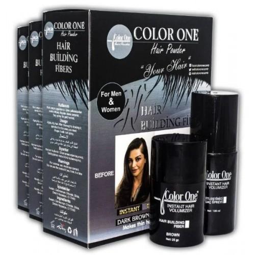 Color One Saç Dolgunlaştırıcı Koyu Kahve 25 gr + 100 ml Sprey Hediye