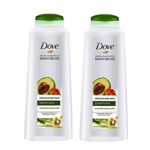 Dove Şampuan Dökülme Karşıtı Avakado Kalendula Özlü 550 ml x 2 Adet