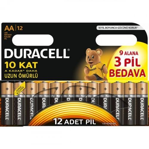 Duracell Alkalin AA Kalem Pil 12 li Paket