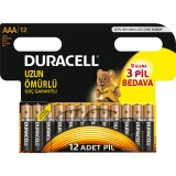 Duracell Alkalin AAA İnce Kalem Pil 12 li Paket