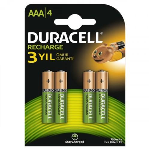 Duracell Şarj Edilebilir Pil 4 lü AAA 750 mAh