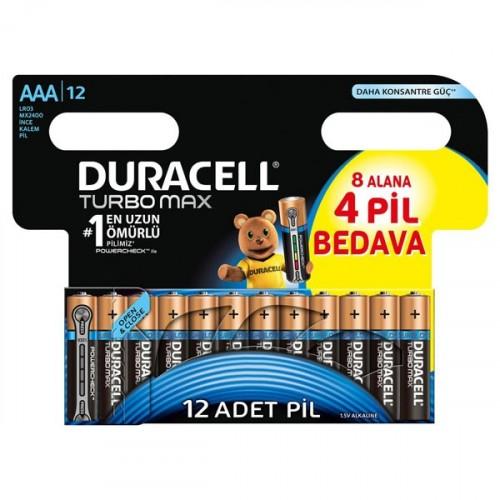 Duracell Turbo Max AAA İnce Kalem Pil 8+4 Adet (12'li Paket)