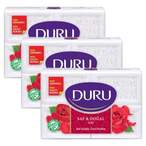 Duru Banyo Sabunu Saf ve Doğal Gül 150 gr 4 lü Paket x 3 Adet