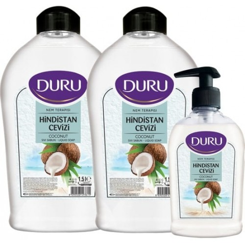 Duru Nem Terapisi Hindistan Cevizi Sıvı Sabun 1500 ml+1500 ml+300 ml
