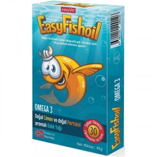 EasyVit Easy Fish Oil Omega 3 Çiğnenebilir Balık Yağı 30 Jel Tablet