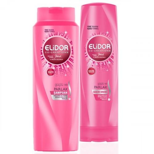 Elidor Şampuan Güçlü ve Parlak 500 ml + Saç Bakım Kremi 500 ml