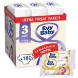 Evy Baby Bebek Bezi 3 Beden Midi Ultra Fırsat Paketi 180 Adet (80 Yaprak Islak Havlu Hediyeli)