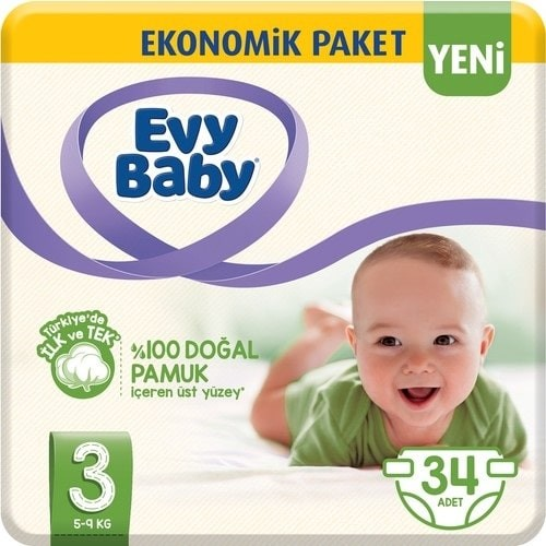 Evy Baby Bebek Bezi 3 Beden Midi 34 lü
