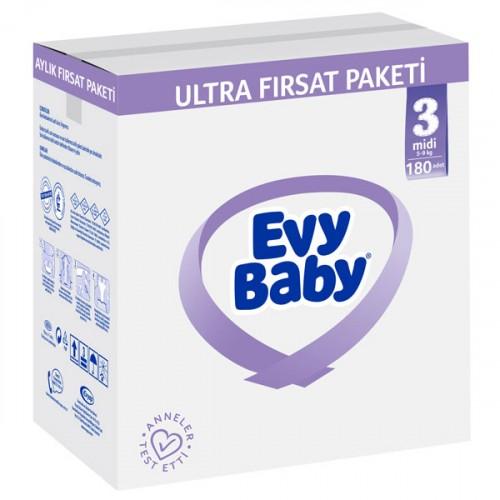 Evy Baby Bebek Bezi 3 Beden Midi Mega Fırsat Paketi 360 Adet